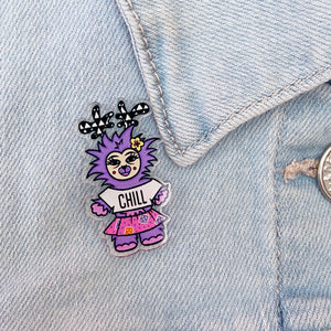 Reassurance Monster Acrylic Pin (Purple)