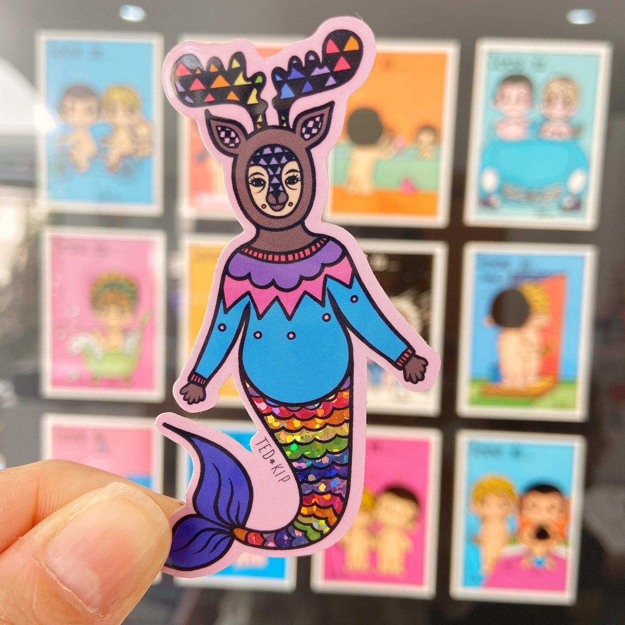 Mermaid Deer Glitter Vinyl Sticker