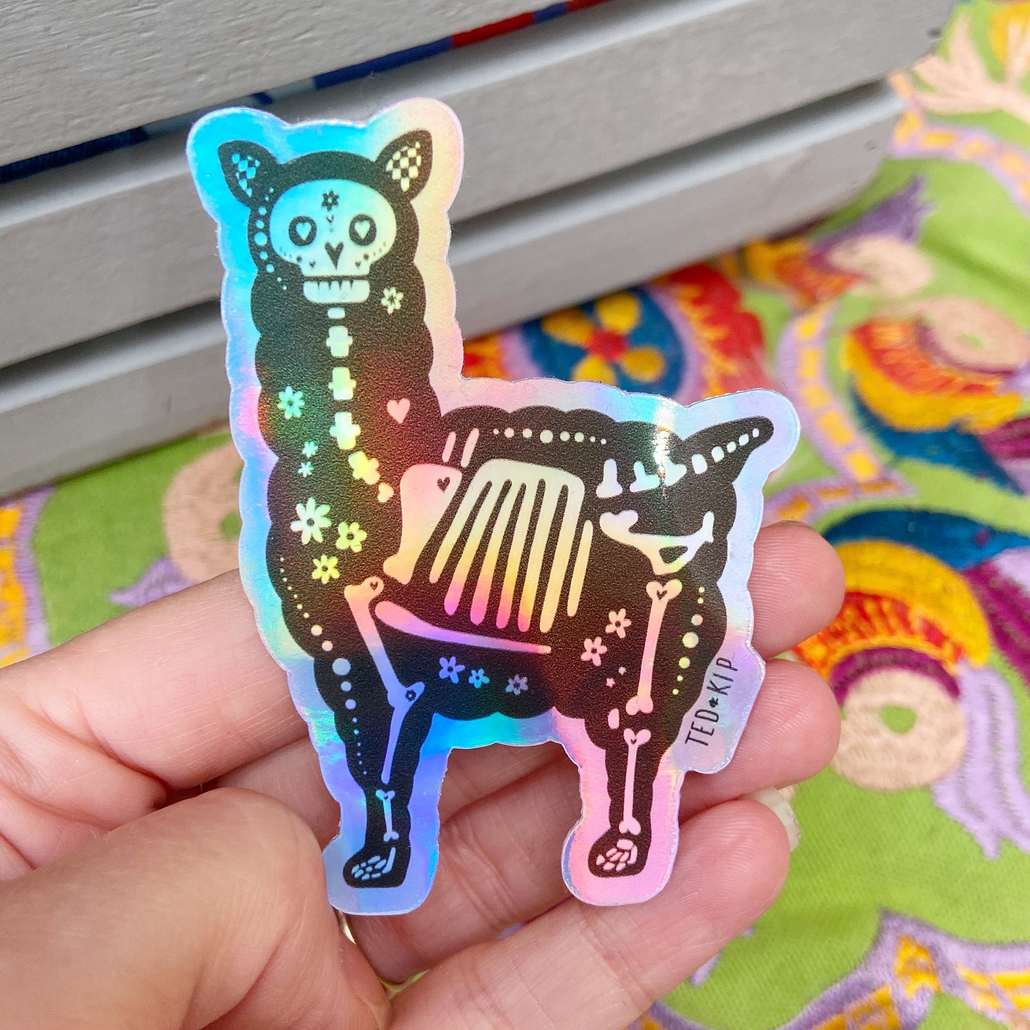 Skeleton Llama Holographic Vinyl Sticker