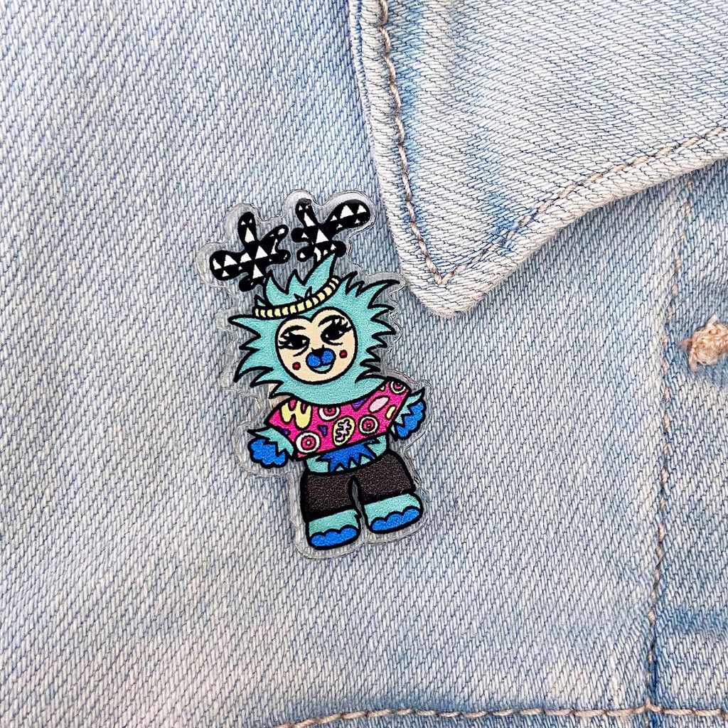 Reassurance Monster Acrylic Pin (Blue)