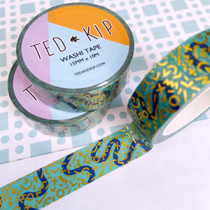 Turquoise Squiggle FOIL Washi Tape