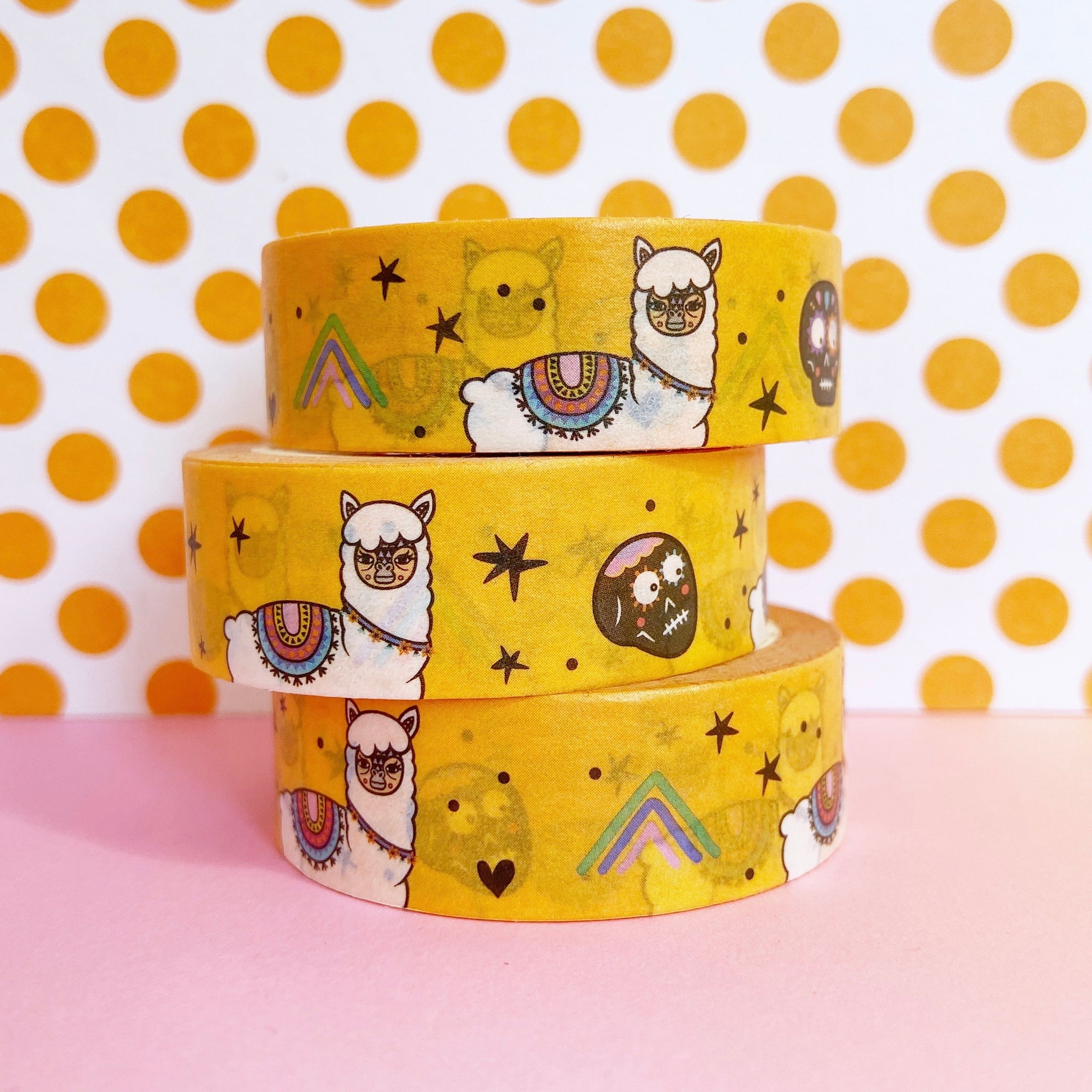 Yellow Llama And Skulls Washi Tape
