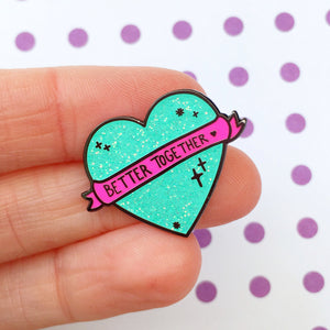 Better Together Glitter Heart Pin (Mint Green)