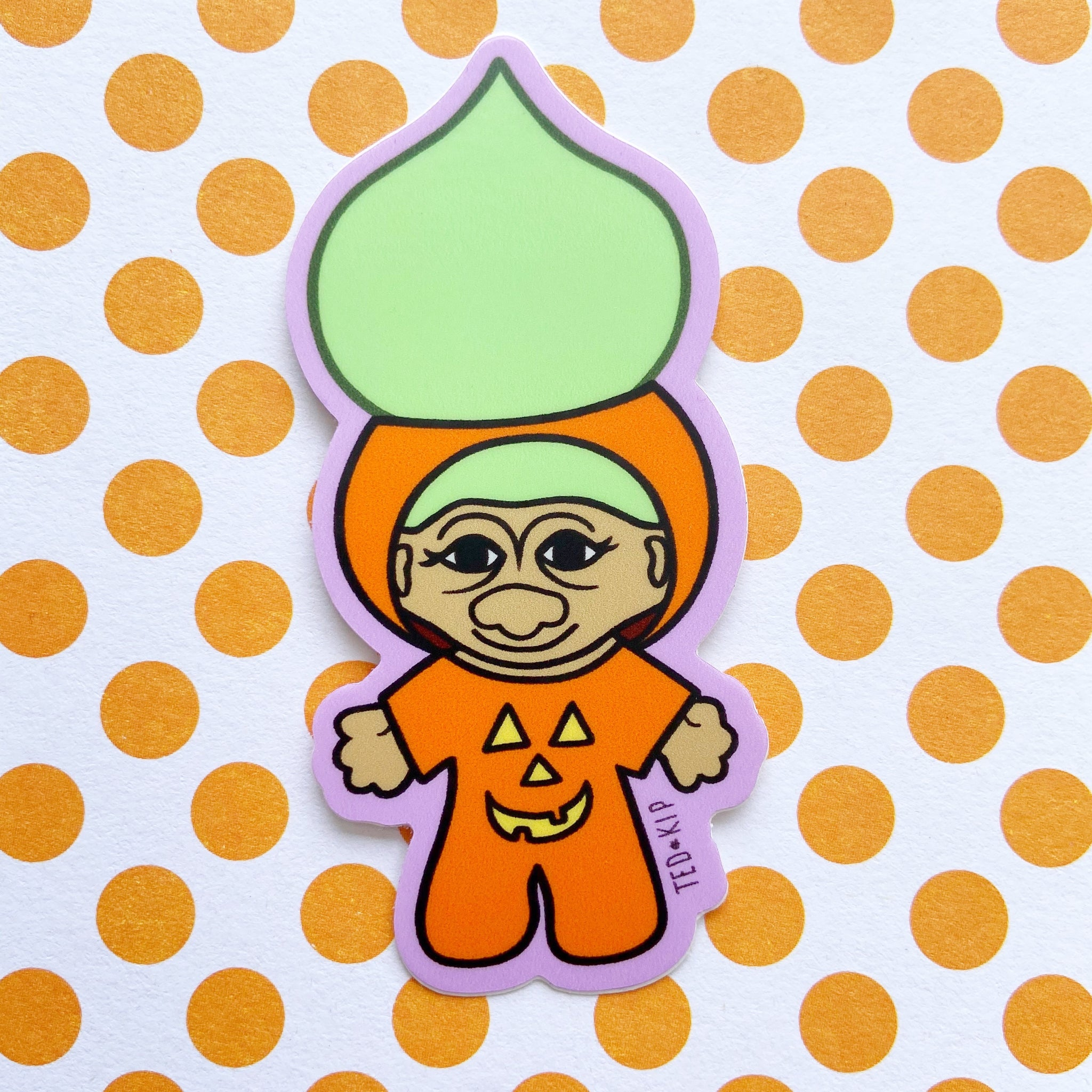 Pumpkin Troll Vinyl Sticker