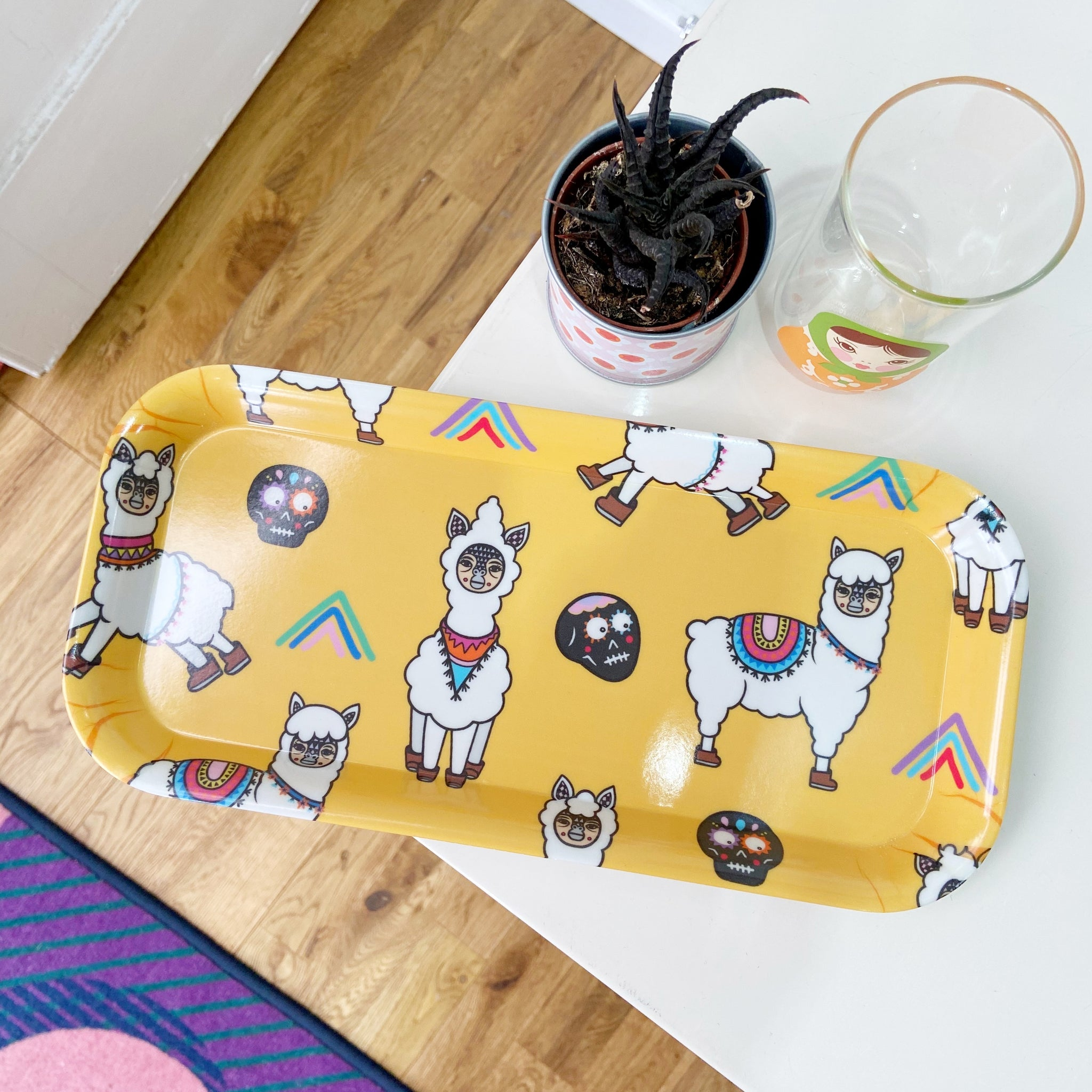 Llama Skull Melamine Tray (Small Rectangular)