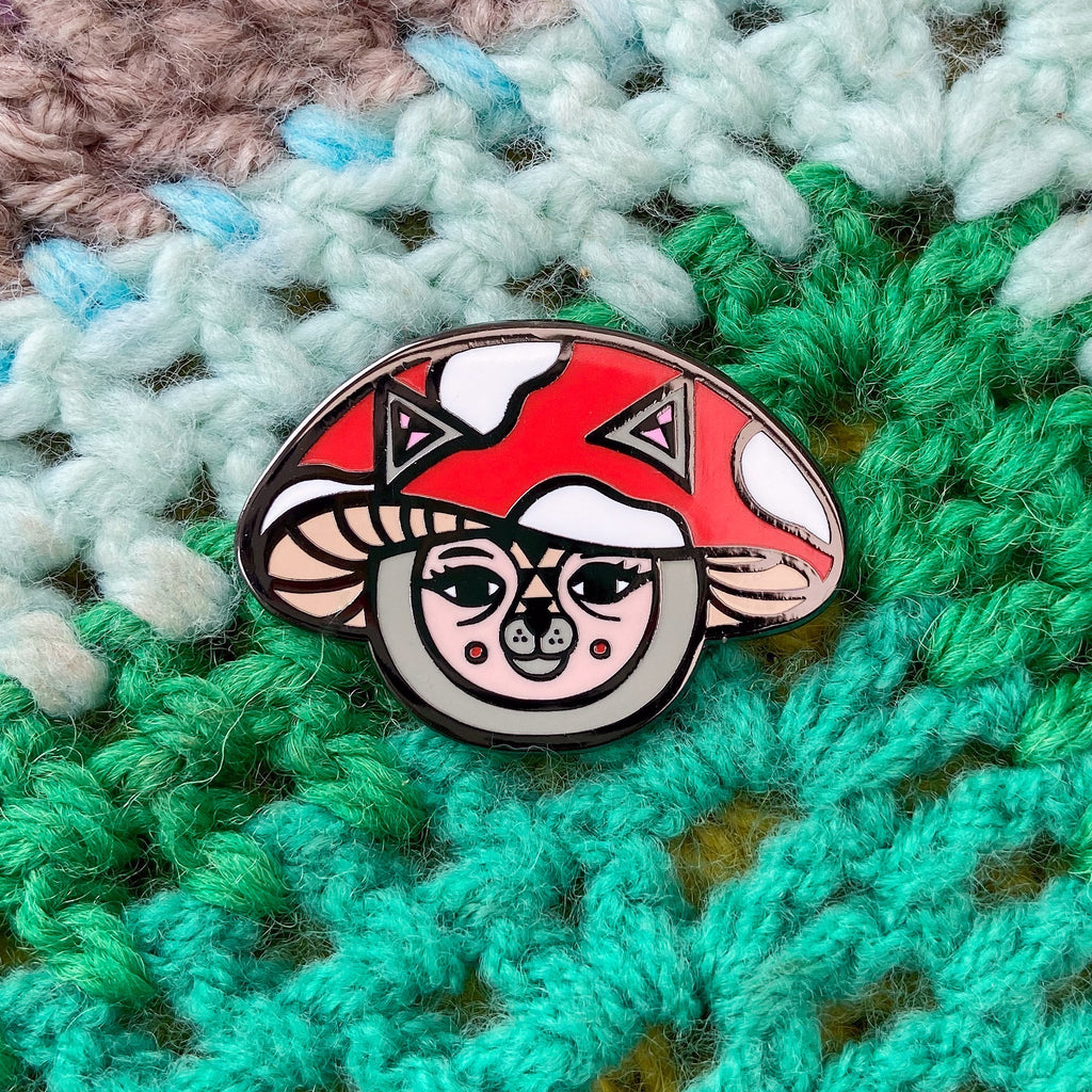 Mushroom Cat Pin (Red)