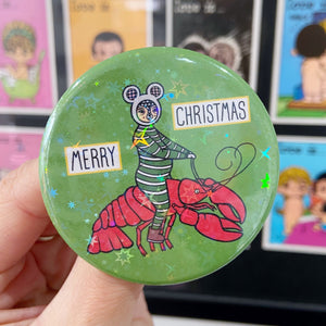 Mouse On A Lobster Button Badge