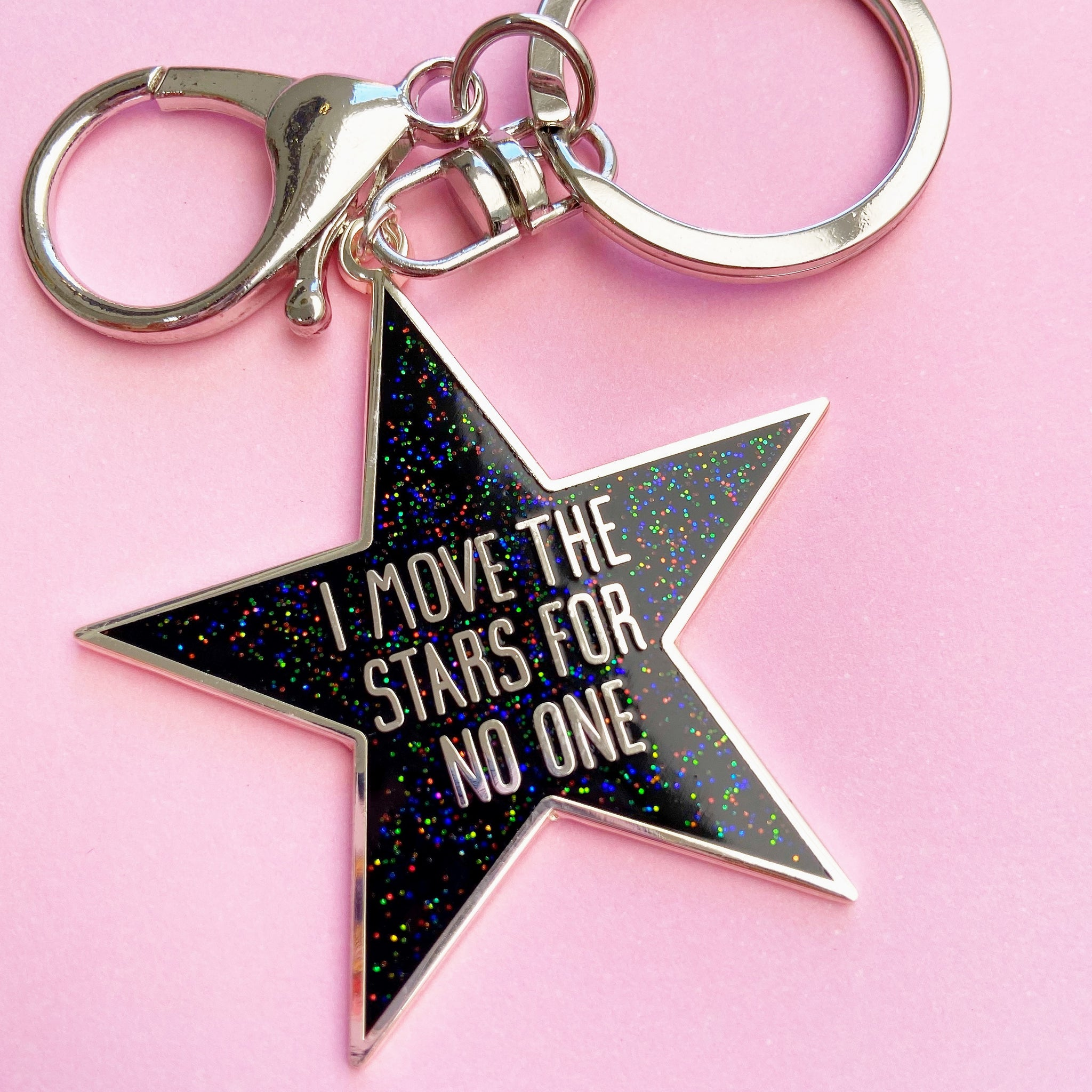 I Move The Stars For No One Enamel Bag Charm (Black)