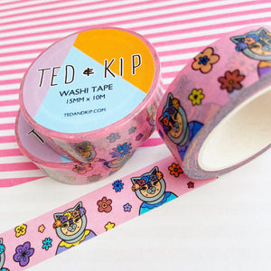 Pink Flower Cat Washi Tape