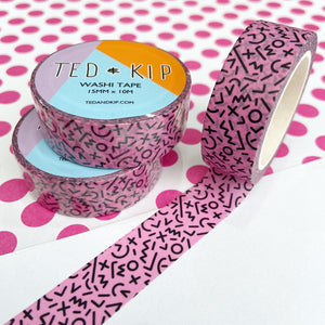 Abstract Pink And Black Washi Tape