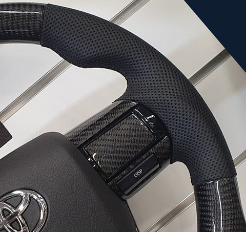 Toyota Hilux TRD Elite Flat Bottom Carbon Fibre/Leather Steering Wheel Kit