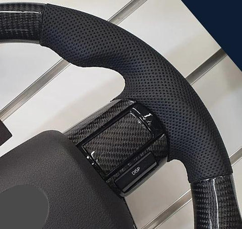 Toyota Hilux Elite Flat Bottom Carbon Fibre/Leather Steering Wheel Kit NO TRD LOGO