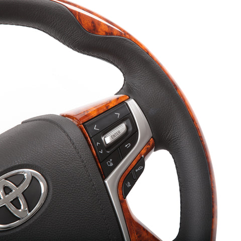 **CLEARANCE** Toyota Bentley Style Elite Wood and Black Leather Steering Wheel Kit