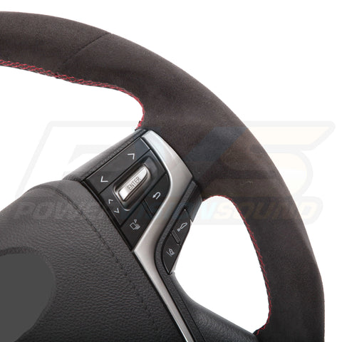 Sports Black Alcantara with Red Stitching Steering Wheel Kit suitable for Toyota LC70/LC200