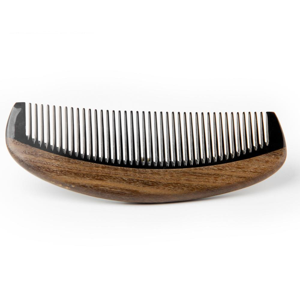 High Quality Natural Ox Horn Comb Wood Green Sandalwood Wooden Pocket Mustache Comb Beard Hair Style Tool For Hair 1PCS