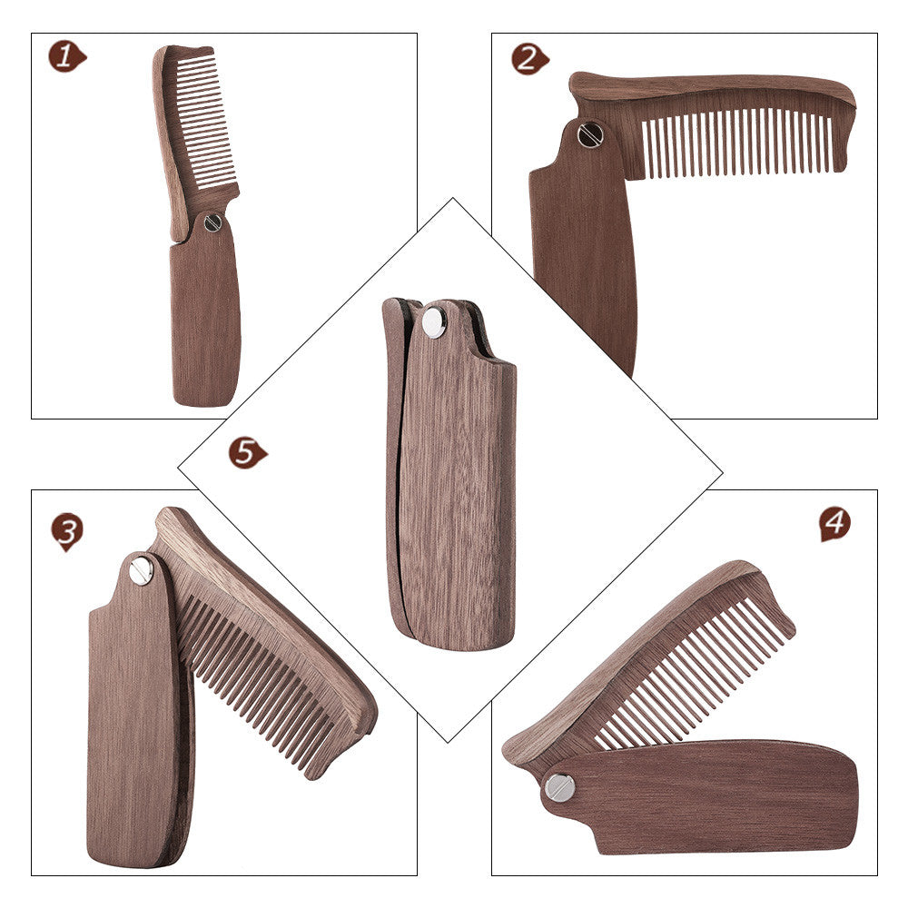 1pc Folding Beard Comb Pocket Size Moustache Comb Wood Anti-static Hair Comb for Men