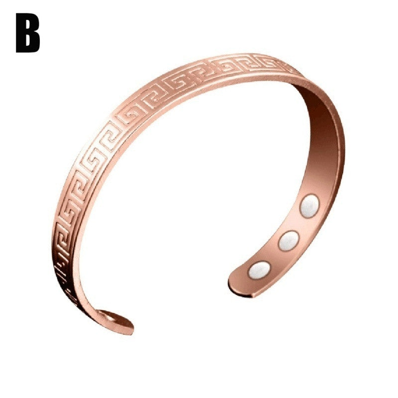 Unisex Fashion Pure Copper Health Care Magnetic Therapy Open Cuff Bracelet Arthritis