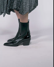 SABERN BOOTIES IN NOIR CROCO PRINT LEATHER