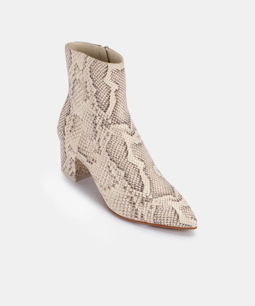 BEL BOOTIES IN BONE SNAKE PRINT LEATHER -   Dolce Vita