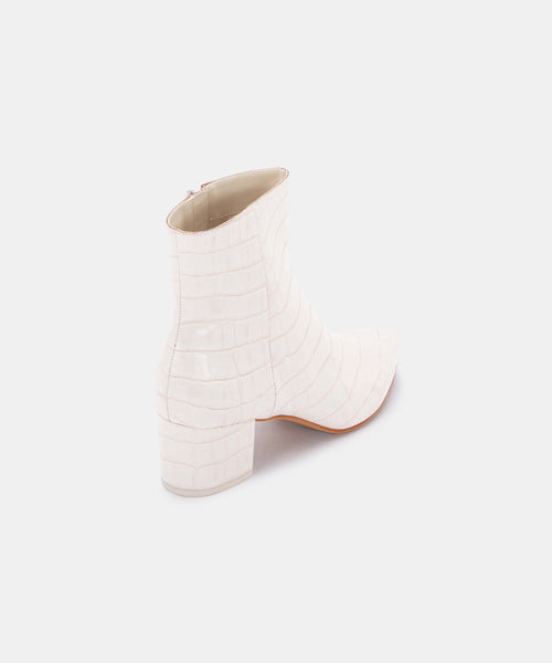 BEL BOOTIES IN IVORY CROCO -   Dolce Vita