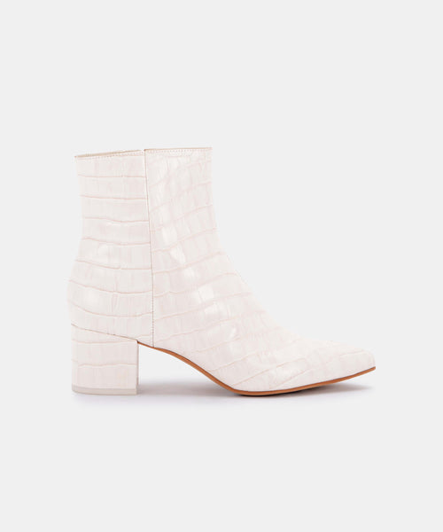 BEL BOOTIES IN IVORY CROCO