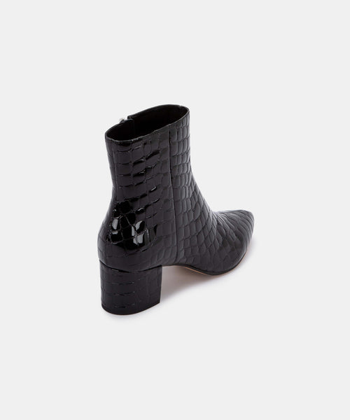 BEL BOOTIES IN MIDNIGHT CROCO -   Dolce Vita