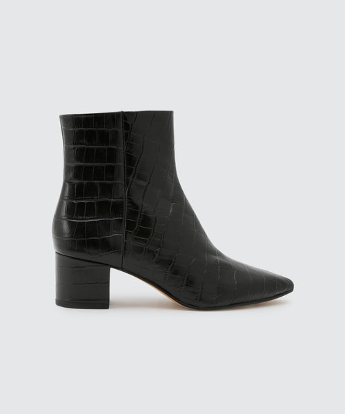 BEL BOOTIES IN BLACK CROCO -   Dolce Vita