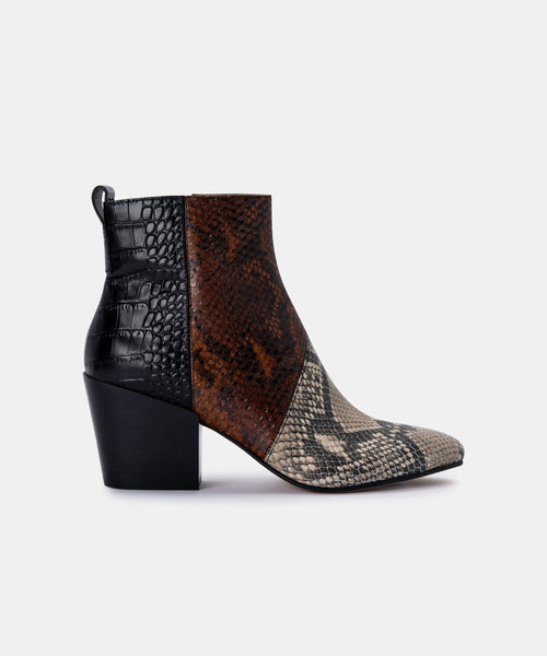 CREW BOOTIES IN BLACK/WHITE MULTI SNAKE PRINT LEATHER