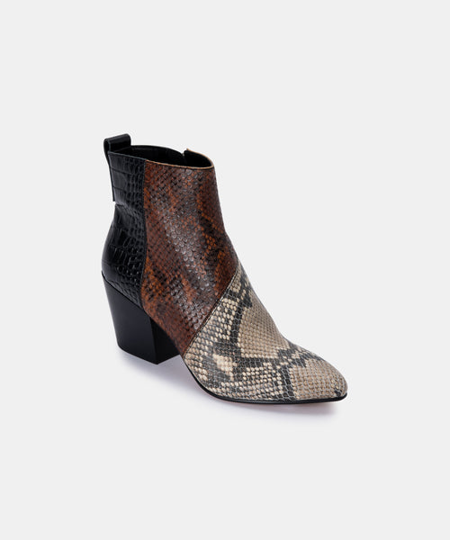 CREW BOOTIES IN BLACK/WHITE MULTI SNAKE PRINT LEATHER -   Dolce Vita