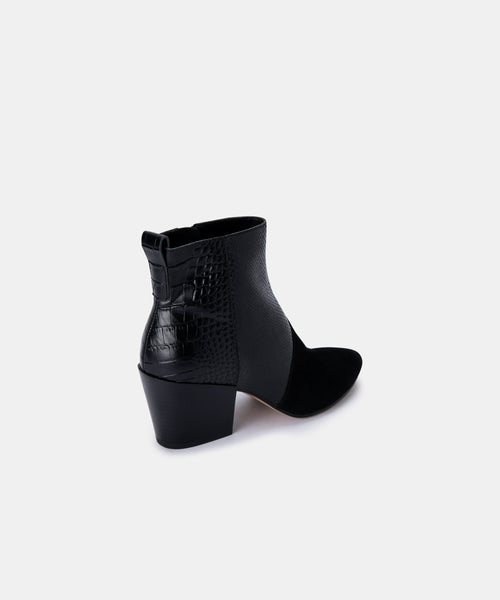 CREW BOOTIES IN BLACK MULTI SUEDE -   Dolce Vita