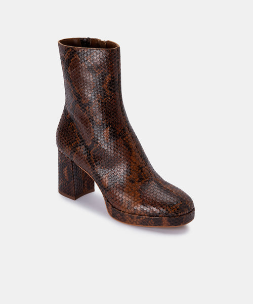 EDEN BOOTIES IN COGNAC SNAKE PRINT LEATHER -   Dolce Vita