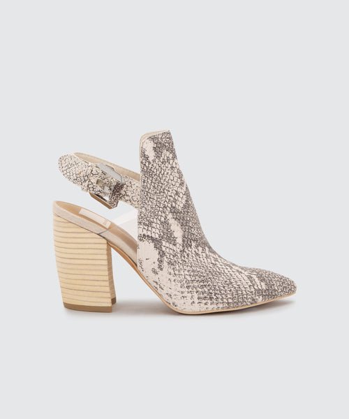 FRANKY MULES IN WHITE/BLACK SNAKE PRINT LEATHER -   Dolce Vita