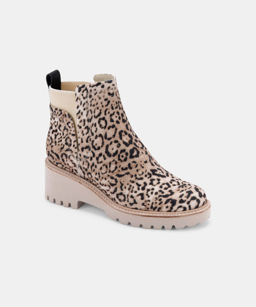 HUEY BOOTIES IN BEIGE LEOPARD CANVAS -   Dolce Vita