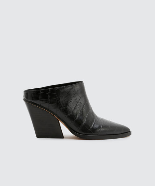 IRA MULES IN BLACK CROCO -   Dolce Vita