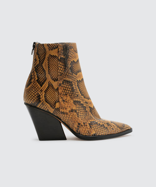 ISSA BOOTIES IN AMBER SNAKE -   Dolce Vita