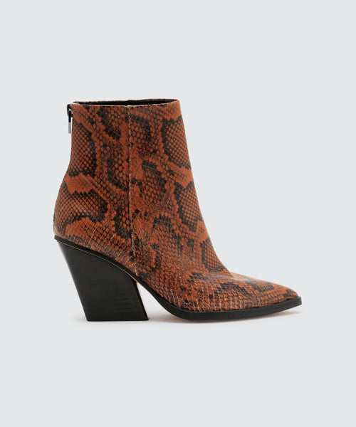 ISSA BOOTIES IN CARAMEL SNAKE -   Dolce Vita