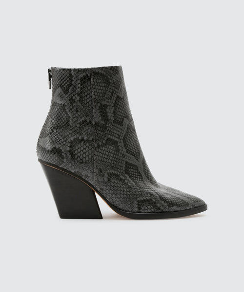 ISSA BOOTIES IN CHARCOAL SNAKE -   Dolce Vita