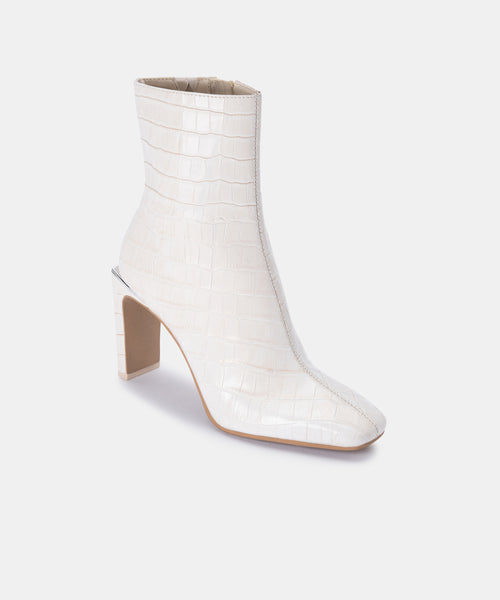 KELSIE BOOTIES IN IVORY CROCO PRINT LEATHER -   Dolce Vita