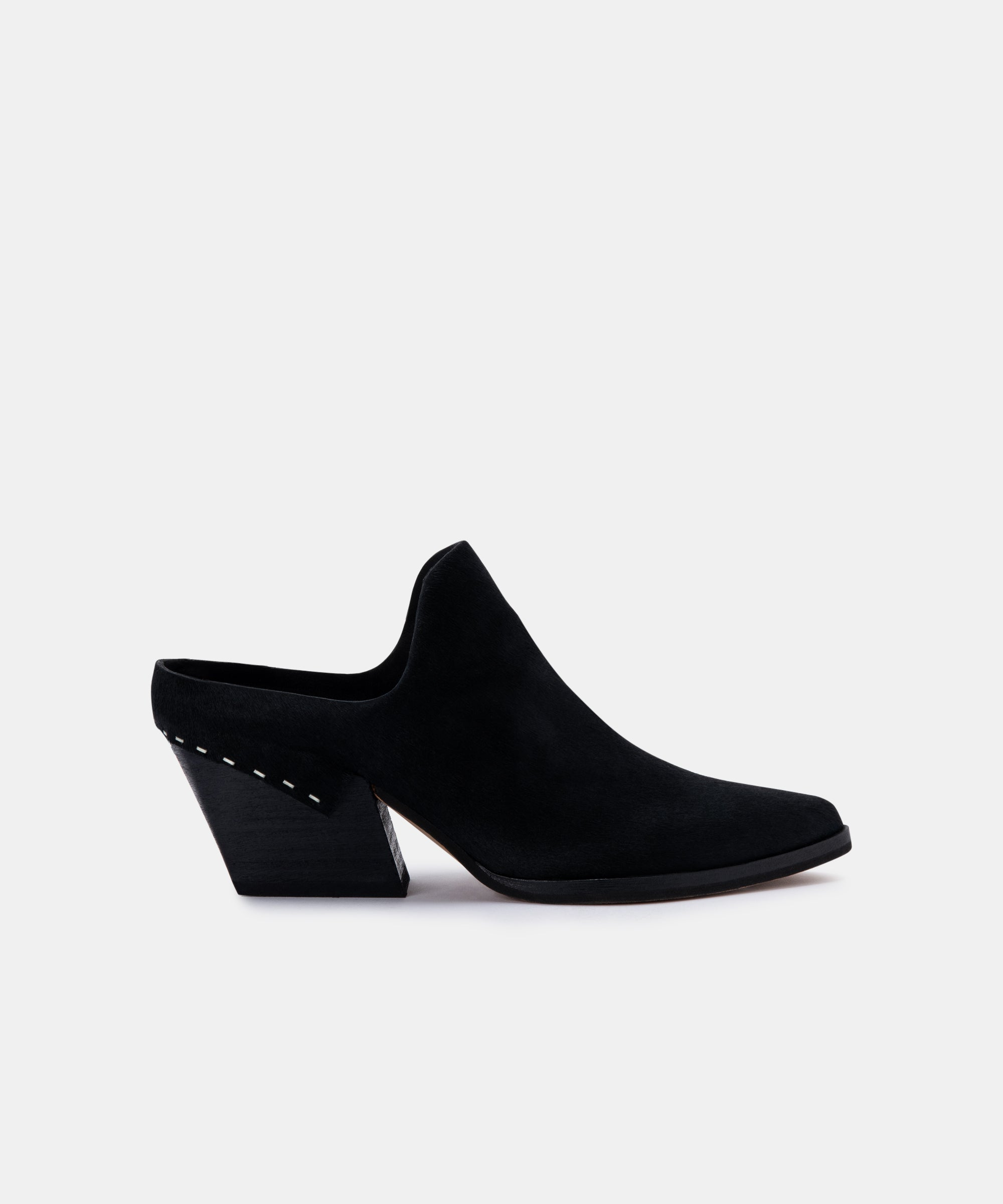 LINDSY MULES IN MIDNIGHT CALF HAIR