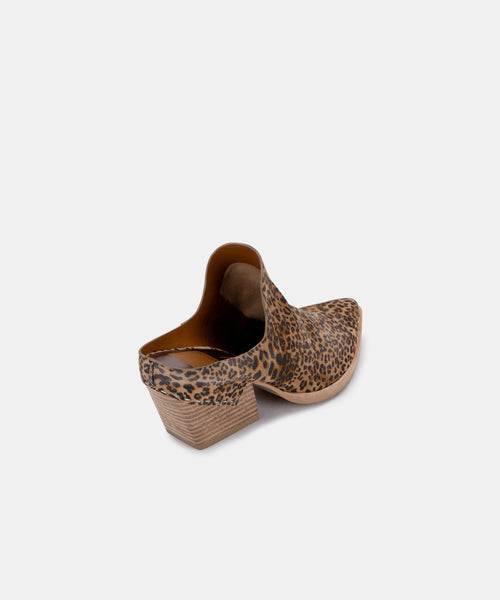 LINDSY MULES IN TAN/BLACK DUSTED LEOPARD SUEDE -   Dolce Vita