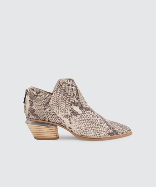 MARCA BOOTIES IN WHITE/BLACK SNAKE PRINT LEATHER -   Dolce Vita