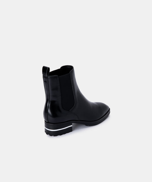 NATINA BOOTIES IN BLACK BOX LEATHER -   Dolce Vita