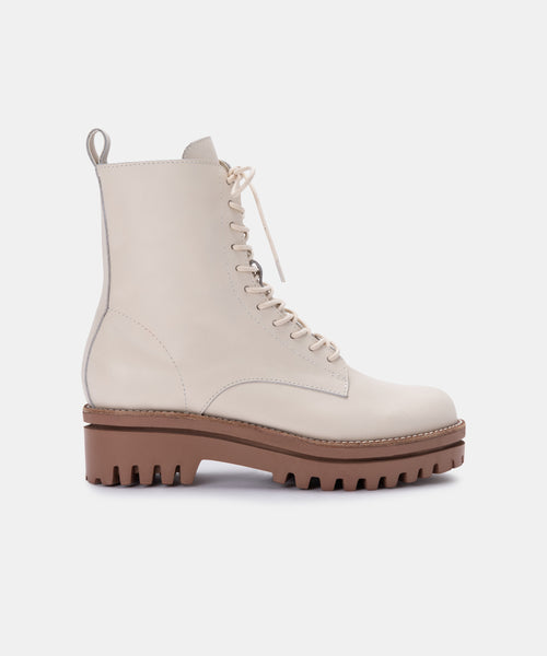 PRYM BOOTS IN IVORY LEATHER -   Dolce Vita