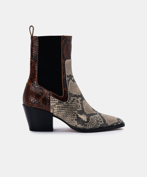 SABERN BOOTIES IN BLACK/WHITE SNAKE PRINT LEATHER -   Dolce Vita