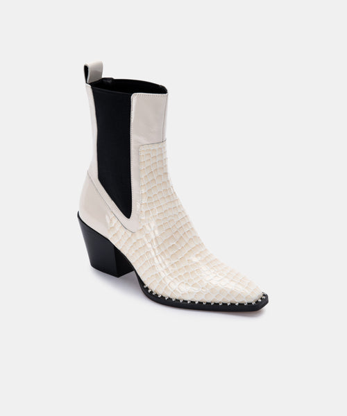 SABERN BOOTIES IN EGGSHELL PATENT CROCO LEATHER -   Dolce Vita