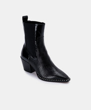 SABERN BOOTIES IN NOIR CROCO PRINT LEATHER -   Dolce Vita