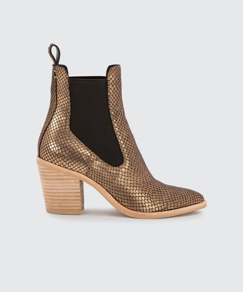 SABIL BOOTIES IN GOLD SNAKE -   Dolce Vita