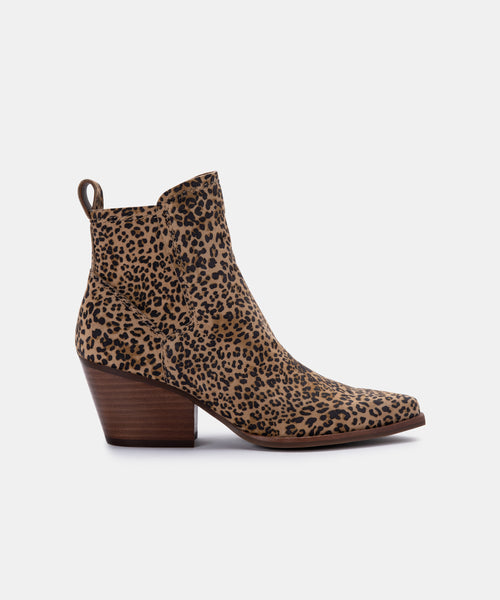 SAMMEY BOOTIES IN TAN/BLACK DUSTED LEOPARD SUEDE -   Dolce Vita