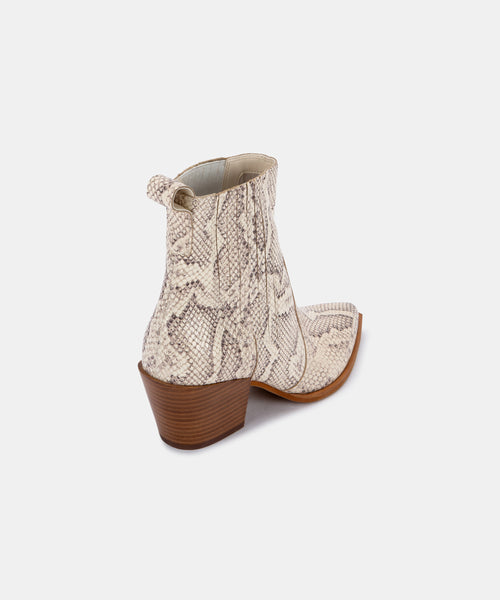 SERNA BOOTIES IN BONE SNAKE PRINT LEATHER -   Dolce Vita