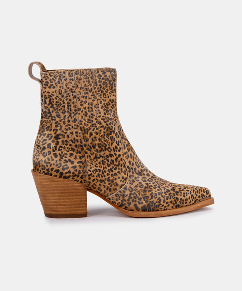 SERNA BOOTIES IN TAN/BLACK DUSTED LEOPARD SUEDE -   Dolce Vita